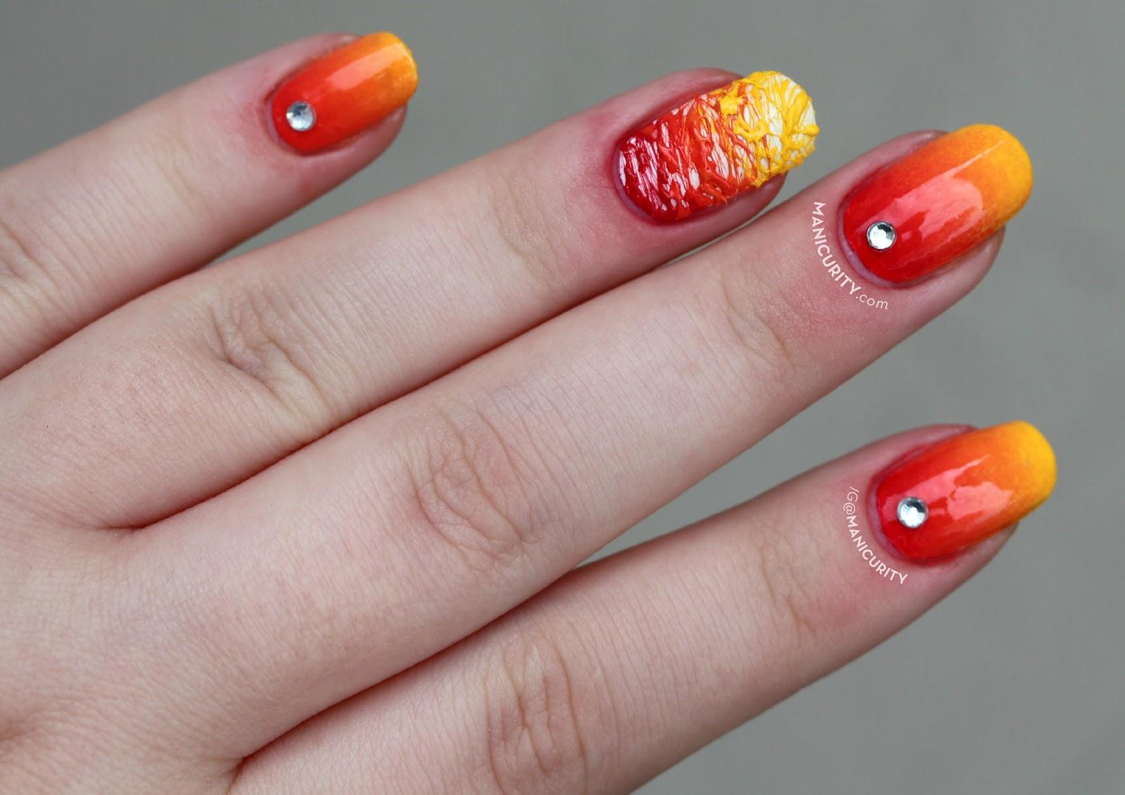 The Digit-al Dozen: Red Hot Sugar-Spun Gradient Nail Art | Manicurity