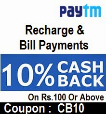 Paytm upto Rs 100 Cashback Coupon for Mobile Recharge & Bill Payment