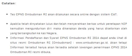 Lowongan Kerja 2014 CPNS Ombudsman RI