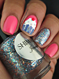 Shimmer Polish, Jennifer, glitter, glitter bomb, swatch, cupcake, cute, simple, girly, pink, nails, nail art, nail design, mani