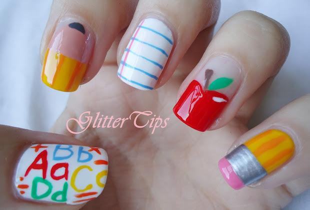 glitter tips school nails