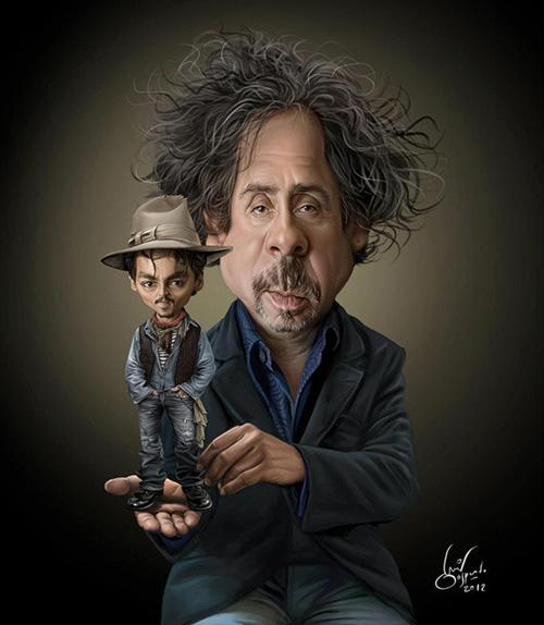 """Caricaturas de """"Tim Burton y Johnny Depp"""" por Luis Gaspardo"""