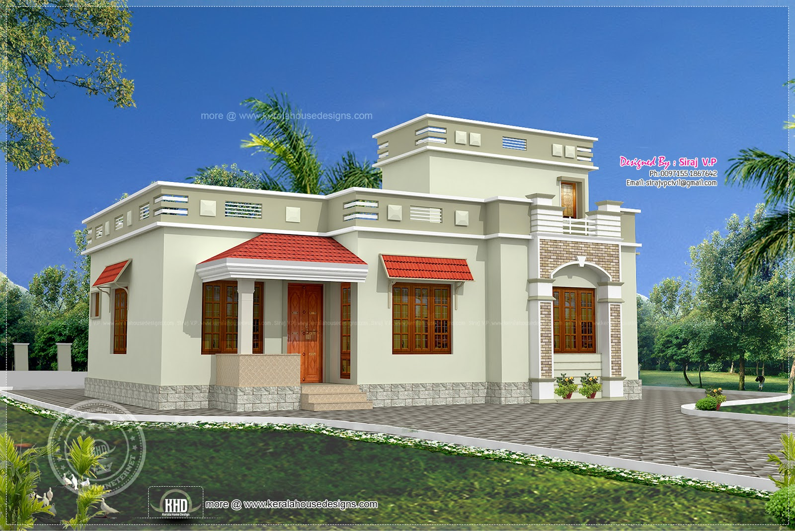 Low budget kerala style home in 1075 house for Low budget home plans
