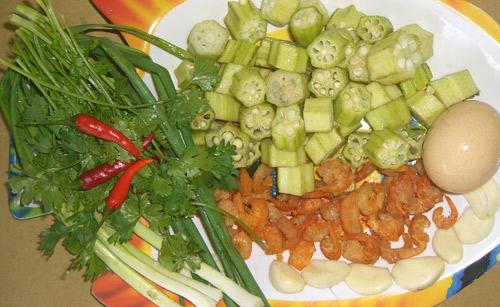 Nguyên liệu chế biến tôm khô xào đậu băp