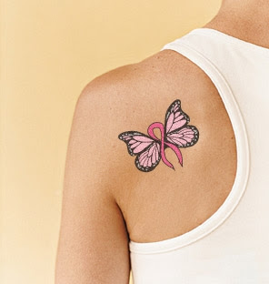 Butterflies butterfly cancer ribbon tattoo for Breast cancer butterfly tattoos