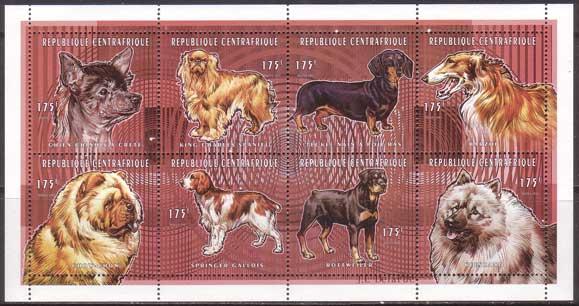 1998年中央アフリカ共和国 チャイニーズ・クレステッド・ドッグ キング・チャールズ・スパニエル ダックスフンド ボルゾイ チャウ・チャウ ウェルシュ・スプリンガー・スパニエル ロットワイラー キースホンドの切手シート
