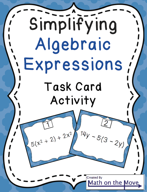 writing algebraic expressions activity