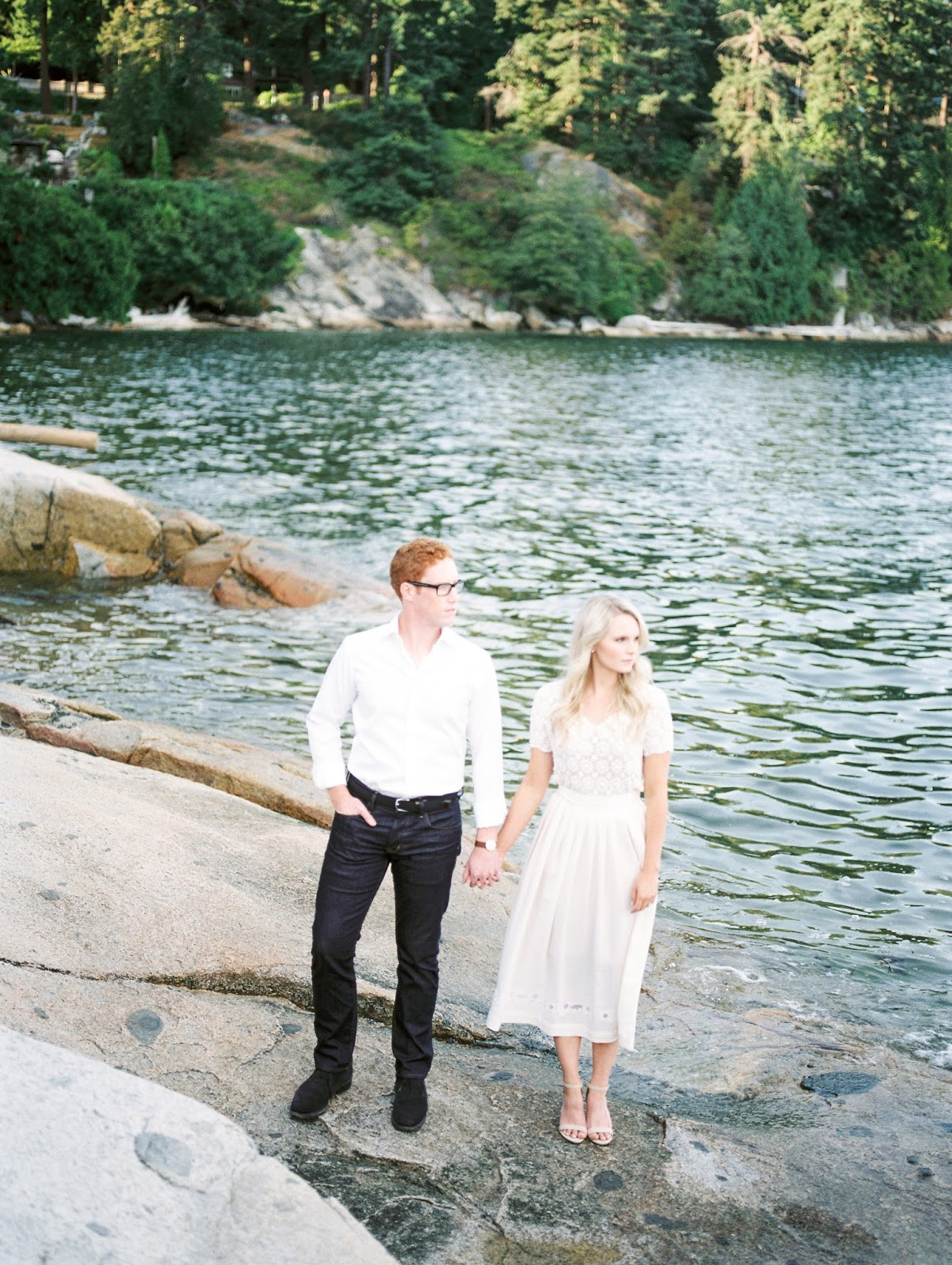west coast engagement photos along the waters edge in vancouver