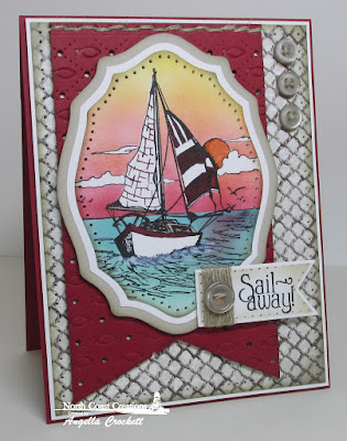 North Coast Creations Stamp sets: Sail Away, Our Daily Bread Designs Custom Dies: Faithful Fish Pattern, Elegant Ovals, Pennants, ODBD Vintage Ephemera Paper Collection