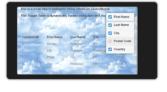 jQueryMobile using  Ajax  to load Json data to a Table