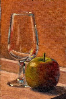 Oil painting of a Pink Lady apple beside an ISO tasting glass, both on a cutting board and illuminated by the morning sun.