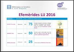 EFEMÈRIDES LITERÀRIES 2016