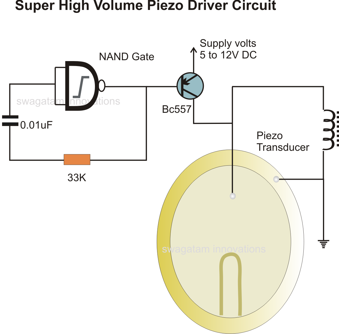 simplest piezo driver circuit explained electronic circuit projects the junction of the 0 01uf capacitor and the 33 k resistor needs to be connected to ground which is not indicated in the diagram