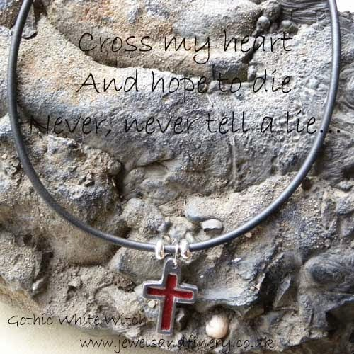 gothic quote on red cross necklace