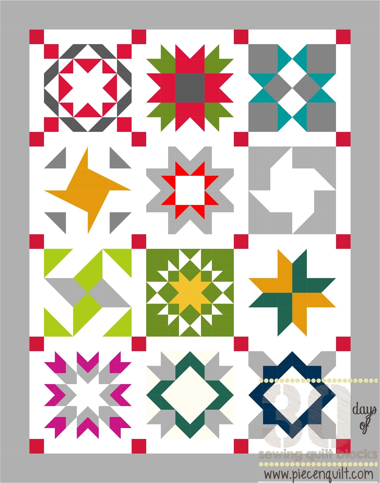 Piece N Quilt: 30 Days of Sewing Quilt Blocks - Star Sampler