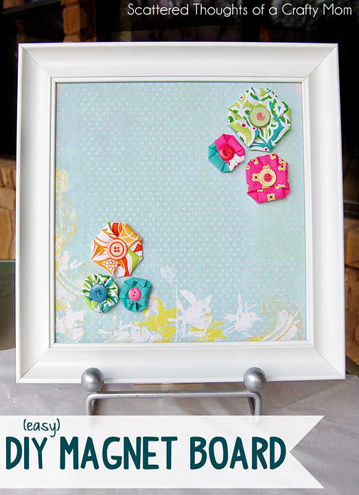 How to make a magnet board from an old picture frame. #DIY #MagnetBoard