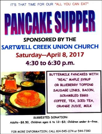 4-8 Pancake Supper, Sartwell Creek