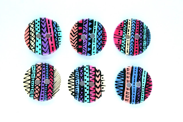 upcycled aztec buttons