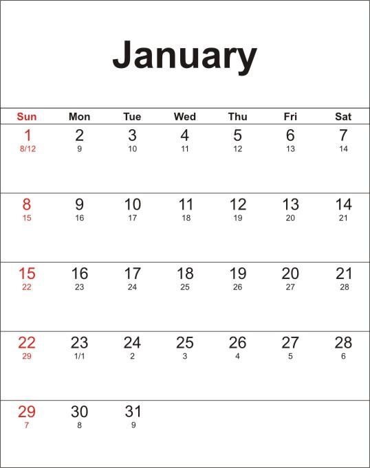 Bộ lịch âm dương 2011, năm 2012