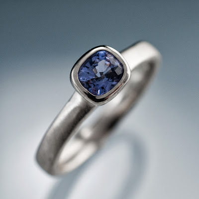 cushion blue spinel ring
