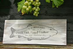 Steigerhouten plank met oude reclame