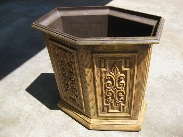 The original wastebasket was not very cute, but makes for the perfect canvas to antique it! Look at all that detail!
