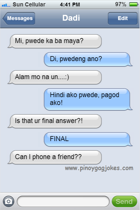 who wants to be a millionare like mag asawa pinoy text fail