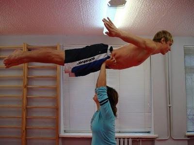 Girl Lifts Girl Overhead Overhead Lift Airplane