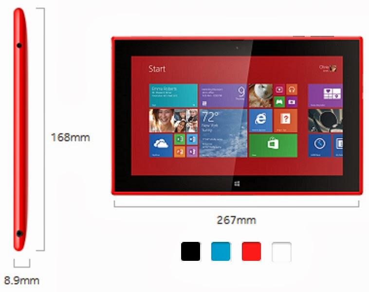 Nokia Lumia 2520, dimensiones y colores disponibles