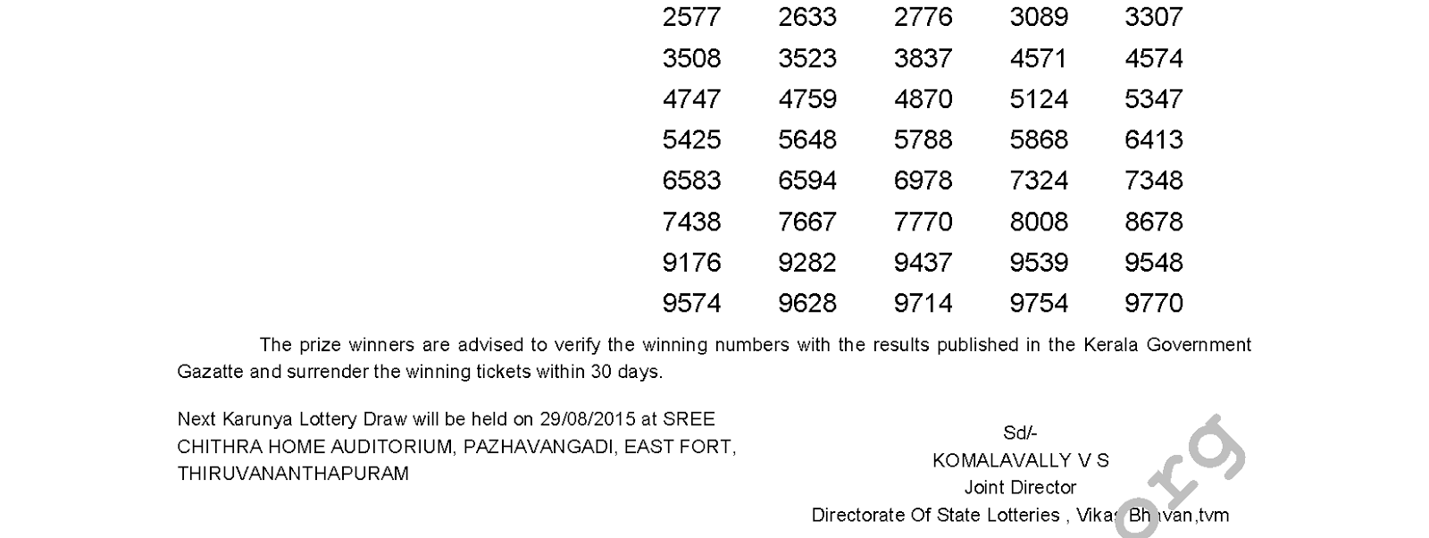 Karunya Lottery KR 203 Result 22-8-2015