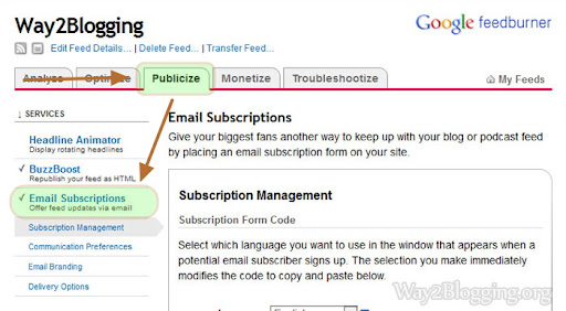 How to Add Feedburner Email Subscriptions Box to Blogger