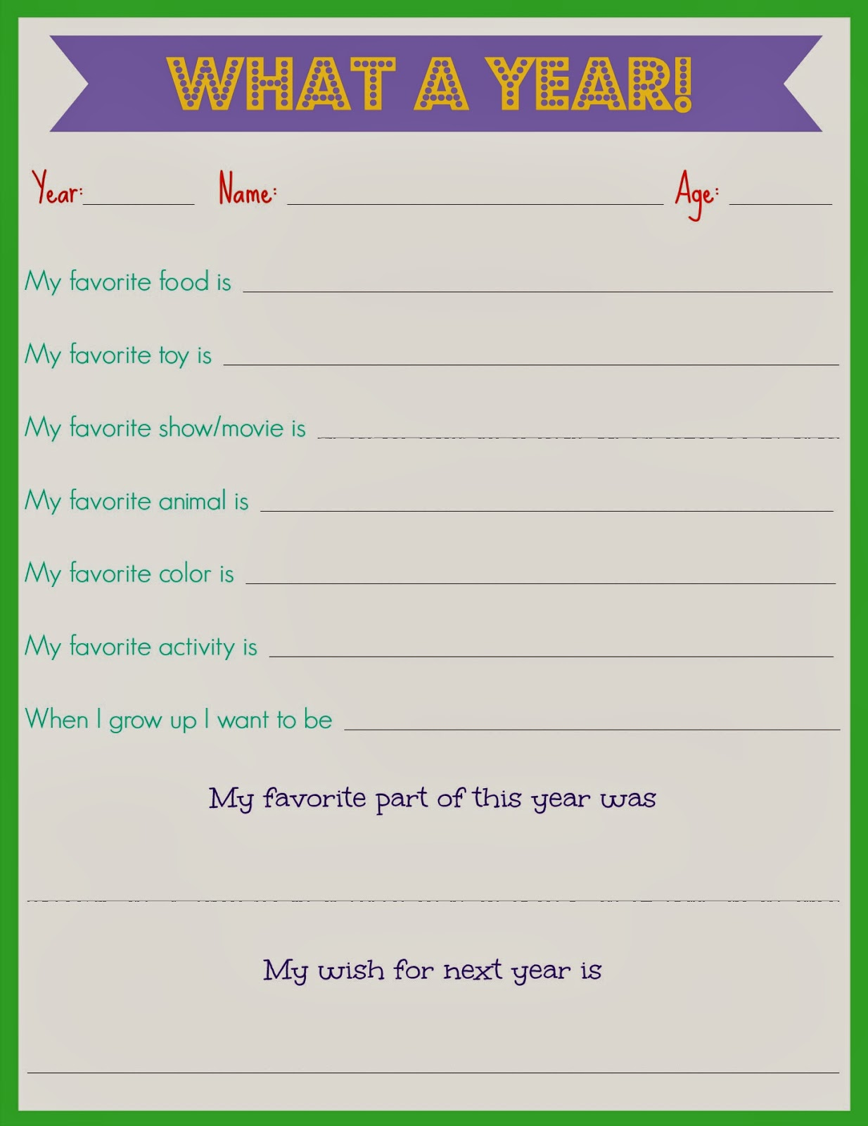 Secret Santa Questionnaire Printable Kids questionnaire for new