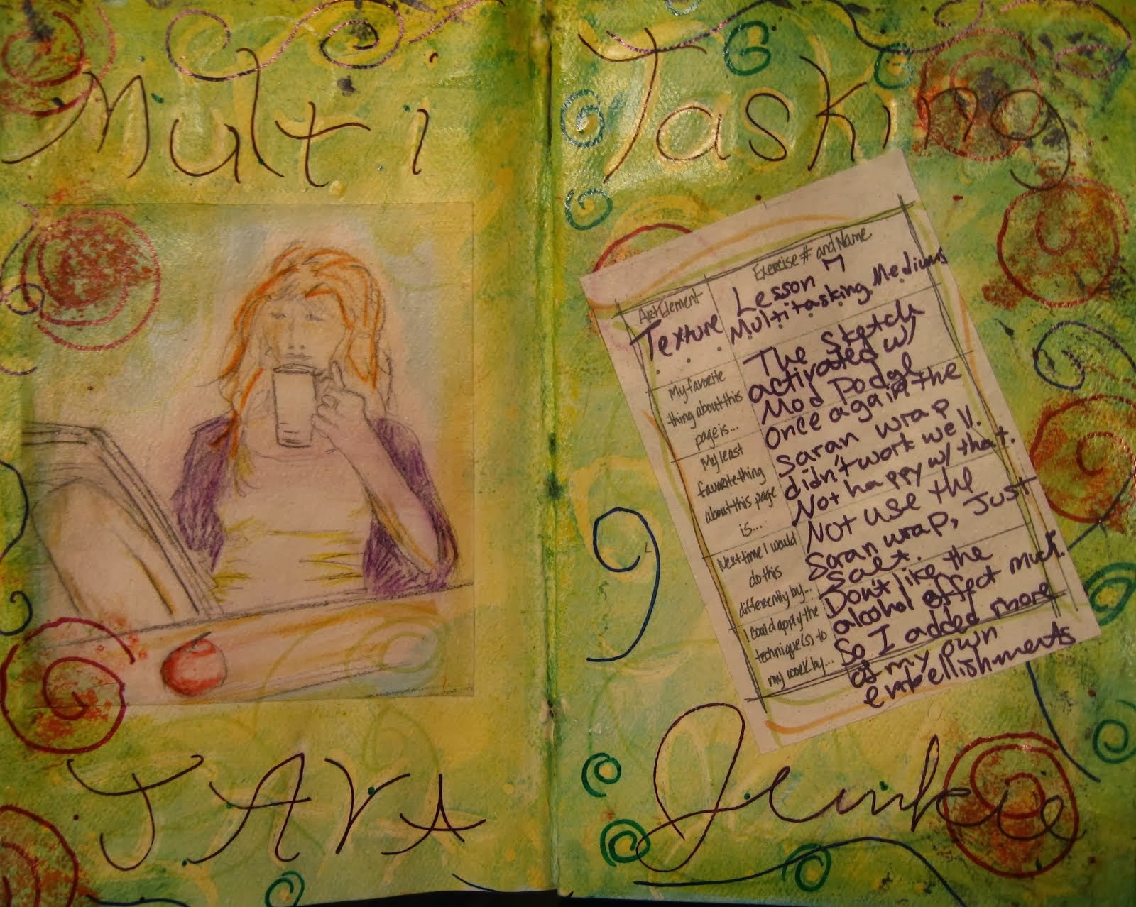 Multi Tasking Java Junkie Art Journal Page
