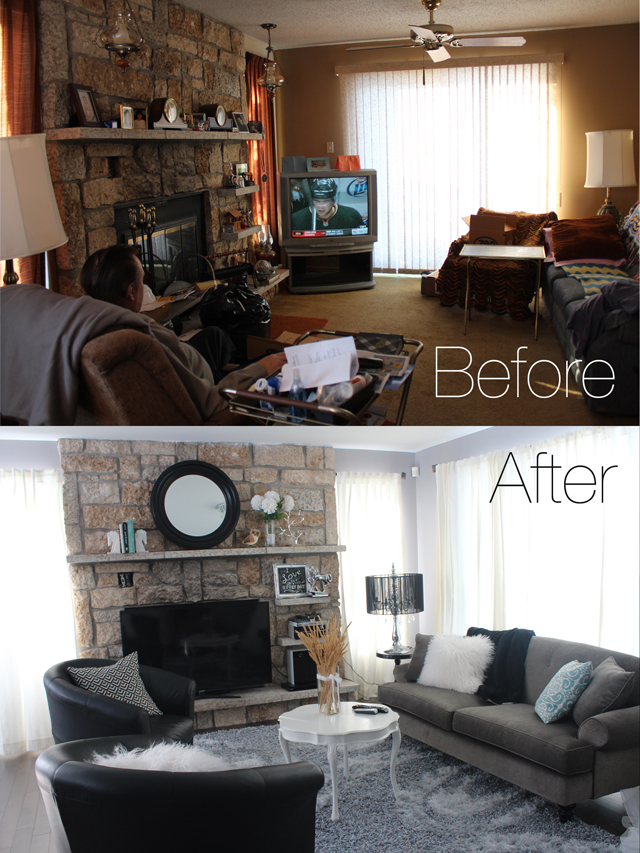 Amazing living room transformation - www.prettylittledetails.ca