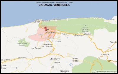 Mapa de CARACAS, capital de VENEZUELA, (google maps)