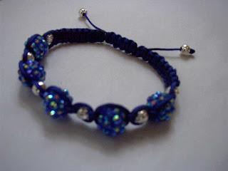 Blue Resin rhinestone shamballa bracelet
