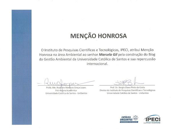 MENÇÃO HONROSA CONCEDIDA PELA REITORIA DA UNIVERSIDADE CATÓLICA DE SANTOS À MARCELO GIL - 2013