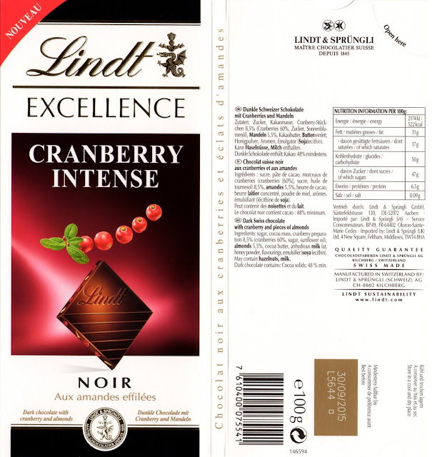 tablette de chocolat noir gourmand lindt excellence cranberry intense