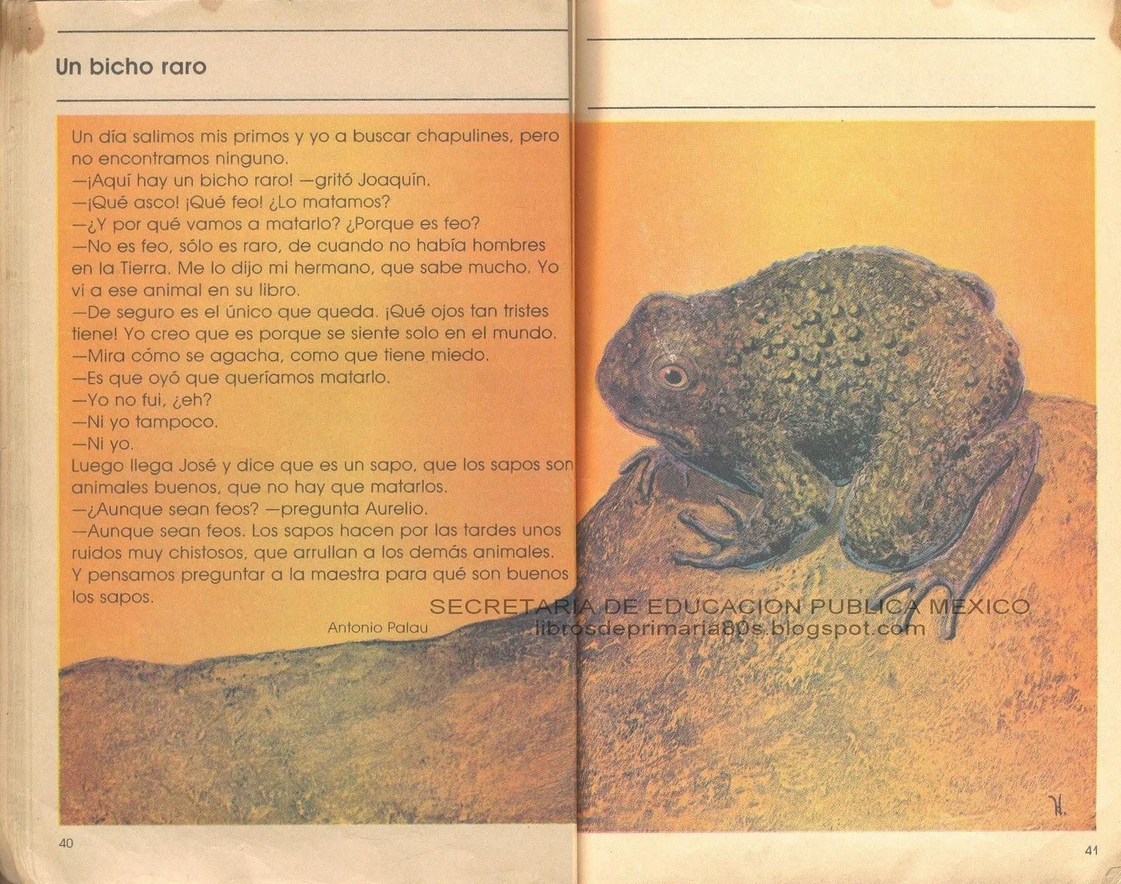Libros de Primaria de los 80's: Un bicho raro (Mi libro de