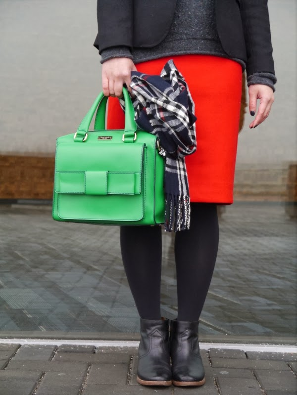 Red pencil skirt, green Kate Spade bag, plaid scarf, ankle boots