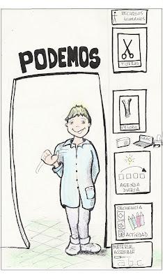 dibujo de un niño en edad escolar con varios pictogramas hechos a mano que representanlos recortes en la escuela y la falta de accesibilidad a la comunicación y la información, todo ello encabezado con el lema PODEMOS