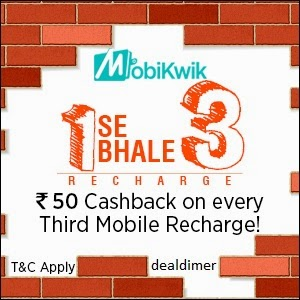 Mobile Recharges Rs. 50 Cashback on every 3rd Recharge of Rs. 125 – MobiKwik