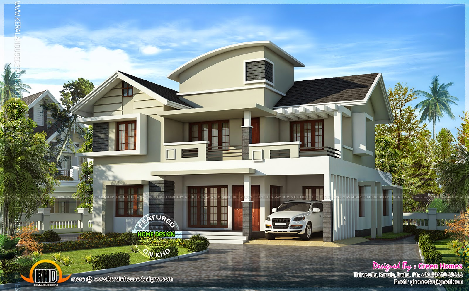 Villa beautiful exterior in 2450 home kerala plans for Beautiful villa design