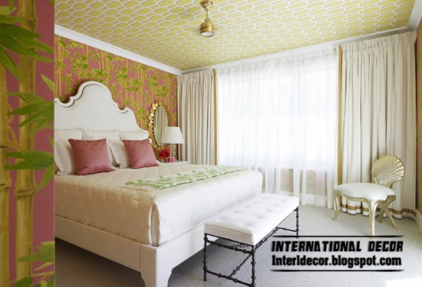 patterned wallpaper on the ceiling, bedroom ceiling ideas
