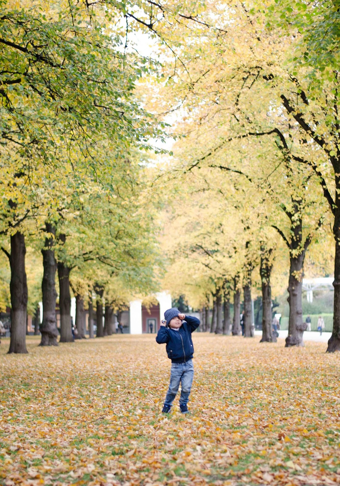kristjaana mere toddler fall photoshoot munich court garden hofgarten münchen golden leaves