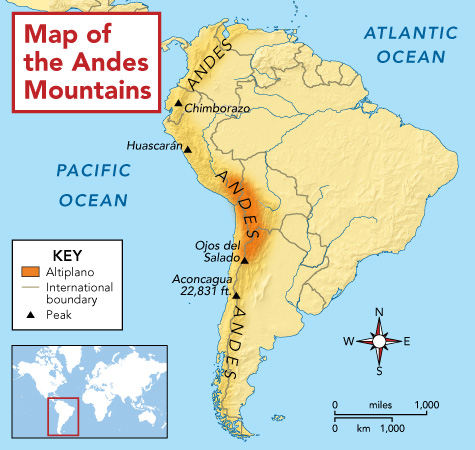 Andes MountainsAndes Mountains Map