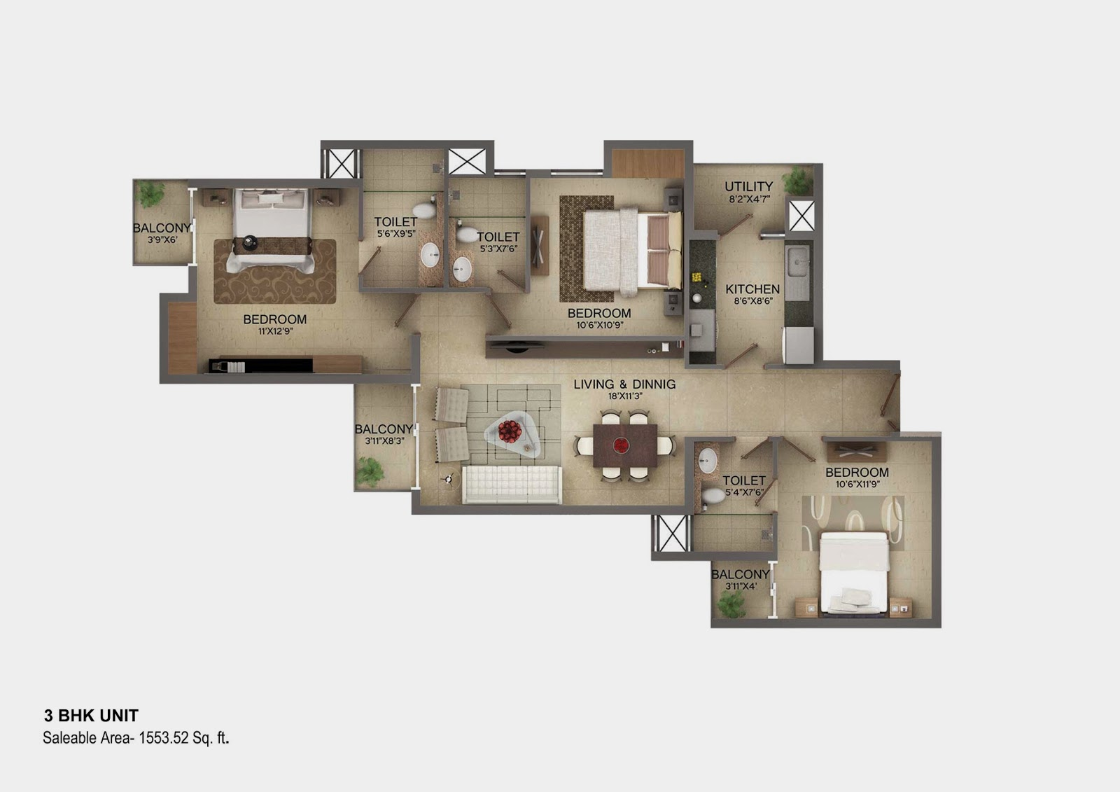 Vasilia Floor Plan 3 bhk