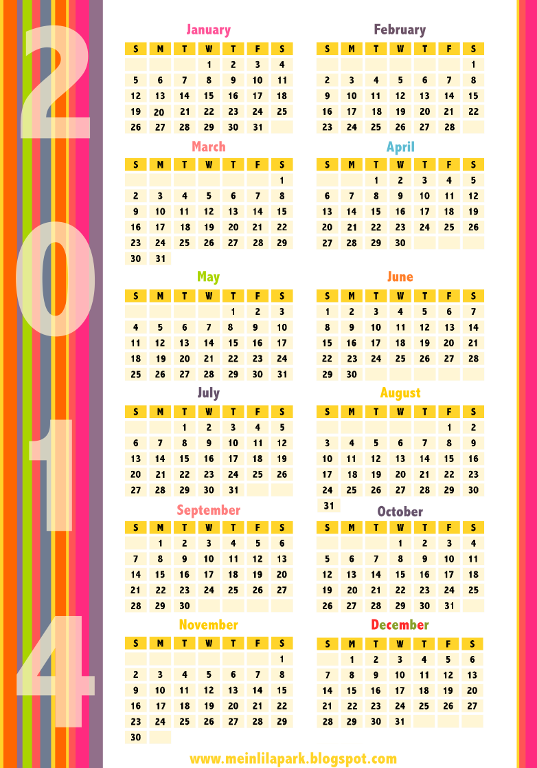 Free printable 2014 calendars in happily colored border for Kalender design