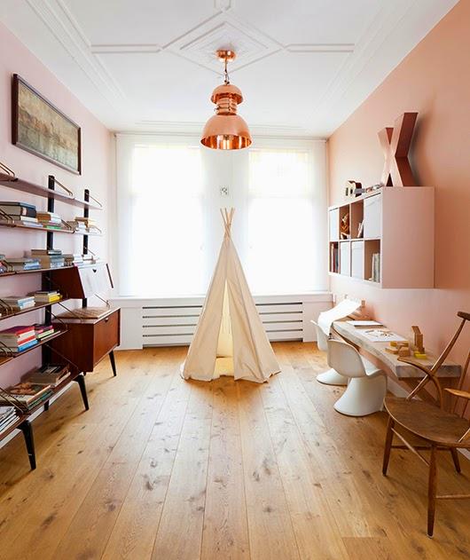decoration chambre d enfant tente cuivre rose