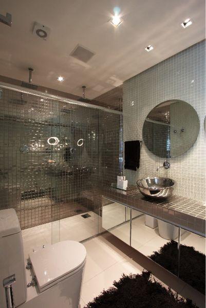 Casa Da Clau -> Banheiro Com Pastilha De Vidro Espelhada